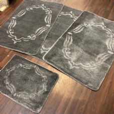 ROMANY WASHABLES GYPSY MATS 4PC SETS NON SLIP FRAME DESIGN CHARCOAL GREY CARPETS